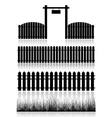 Set of Fences Gate and Grass vector image