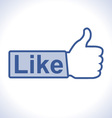 Thumb up hand with like text on button vector image