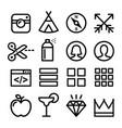 web line icons website navigation flat design ico vector image
