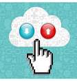 Cloud computing button and cursor hand vector image vector image