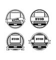 BYOD black and white stamps vector image vector image