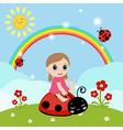 Little girl sitting on a ladybug vector image