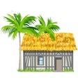 A house with a thatched roof and palm trees vector image
