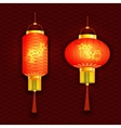 A set of orange Chinese lanterns With cherry vector image