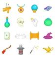 Magic icons set cartoon style vector image