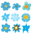 Set of blue flowers vector image vector image