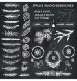 Spruce branches brushesPine conesbow silhouette vector image