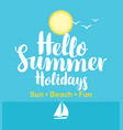 travel banner with the sea sailboat and sun vector image