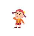 Cartoon character girl in surprise vector image