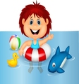 Girl cartoon floating with inflatable ring vector image