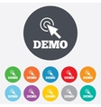 Demo with cursor sign icon Demonstration symbol vector image