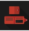 Flat wallet with long shadow vector image