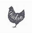 Hand drawn farm bird hipster silhouette Chicken vector image