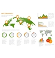 World map 3D with set of infographics elements vector image vector image