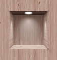 Wooden niche for presentation vector image