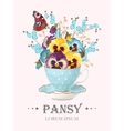 Greeting card with pansies vector image