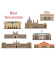 Buildings of popular national universities icons vector image