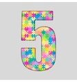 Color Puzzle Number - 5 Five Gigsaw Piece vector image