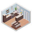 isometric kitchen interior with cooking and dining vector image