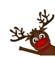 reindeer peeking sideways on a white background vector image