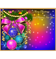 christmas background with baubles and ribbon Chris vector image vector image