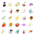Academic year icons set isometric style vector image