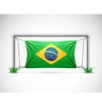 Soccer goal with flag brazil vector image