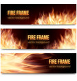 banners set with realistic fire flames vector image