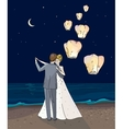 Bride and groom Newlyweds dancing couple in a vector image