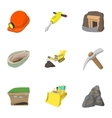 Colliery icons set cartoon style vector image