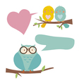 Cute birds and blue owl vector image
