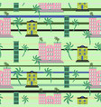 hawaii resort buildings seamless pattern vector image