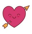 kawaii love heart arrow valentin vector image