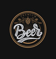 premium beer emblem handwritten lettering logo vector image