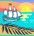 seascape with wooden ship sandy beach and sunset vector image