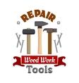 Repair hammers work tools emblem vector image
