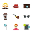 Hipster culture icons set flat style vector image