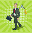 robotic businessman with key of his back pop art vector image