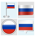 Russia flag - sticker button label flagstaff vector image vector image