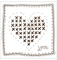 Handkerchief with embroidery heart vector image vector image