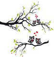 Owls in love on tree vector image vector image