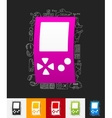 video game paper sticker with hand drawn elements vector image