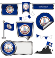 Glossy icons with Virginian flag vector image