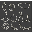 Set of one line fruits and vegetables vector image