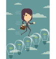Business woman climbing up ideas vector image
