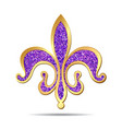 Golden and purple fleur-de-lis vector image