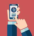 Mobile shopping button flat design vector image