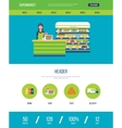 Web design template with icons of supermarket shop vector image