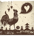 ethnic wallpaper with a rooster vector image