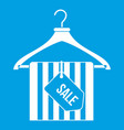 hanger with sale tag icon white vector image vector image